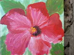 Red Hibiscus Flower Painting by Ann Lutz.