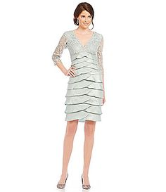 7484303b7b8 Adrianna Papell Shimmer Shutter Tuck Lace Dress  Dillards Mom Dress