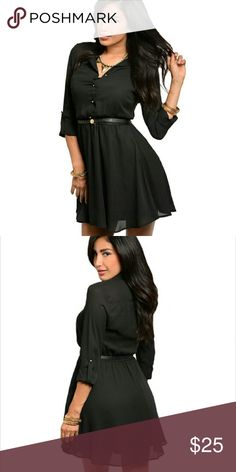 Black Button Down Belted  3/4 Sleeve Mini Dress It's here! This black button down 3/4 sleeve mini dress features a chic belt accent and a chiffon overlay with lining underneath.  This is a perfect dress to use for work during th day and then spice it up with bold jewelry and heels to wear out at night! In need of statement piece jewelry or sexy heels? Check out my closet! Dresses Mini