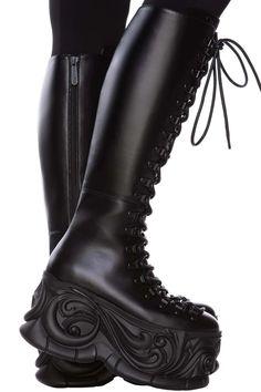 Moondaze Knee High Boots   Killstar Womens Gothic Boots, Gothic Shoes, High Platform Shoes, High Heels, Moon Boots, Shoe Show, Knee High Boots, Rubber Rain Boots, Combat Boots