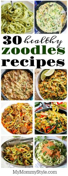 Learn how to cook zoodles with 30 healthy and incredibly delicious recipes. Zucc… Learn how to cook zoodles with 30 healthy and incredibly delicious recipes. Zucchini noodles are a healthy option to pasta and they taste so good! Low Carb Recipes, Diet Recipes, Vegetarian Recipes, Cooking Recipes, Cooking Bacon, Cooking Games, Cooking Classes, Vegan Zoodle Recipes, Cooking Oil