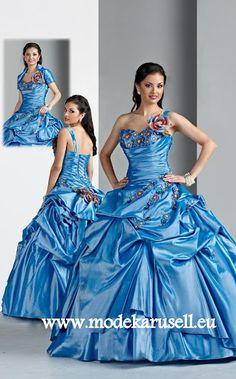 Hell Blaues Ballkleid Brautkleid mit 3D Blume  www.modekarusell.eu