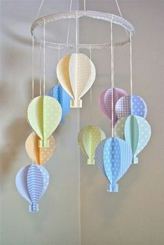 my future childrens' rooms will be hot air balloon themed! Baby Crafts, Diy And Crafts, Crafts For Kids, Arts And Crafts, Paper Crafts, Air Ballon, Hot Air Balloon, Adairs Kids, Paper Mobile