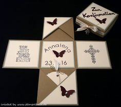 Box konfirmation stampin stempelhexe taupe blau