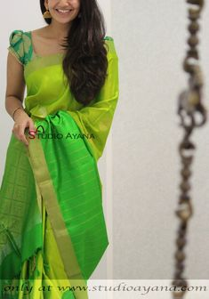 #Studioayana #Royale #Collection #green #kanjivarams #kanchipuram Cotton Saree Blouse Designs, Half Saree Designs, Blouse Patterns, Indian Beauty Saree, Indian Sarees, Saree Models, Simple Sarees, Stylish Sarees, Saree Look