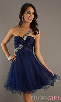 One Shoulder Short Prom Dress by Dave love the red on!