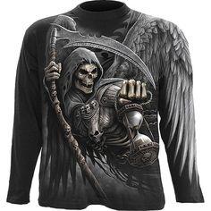 Longsleeve//Langarmshirt schwarz Gothik-//Tattoomotiv Modell Skulls Bling