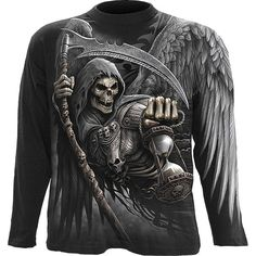 Death Angel wrap print long-sleeve shirt from the Spiral Direct gothic clothing for men collection, large winged grim reaper on front and back.