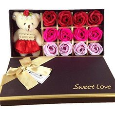 12 Bath Soap Rose Flower MrPro Flora Scented Flower Set with Baby Bear Doll (Preservative Free) Plant Essential Oil Soap Gift for Valentine's Day / Mother's Day (12 Red)