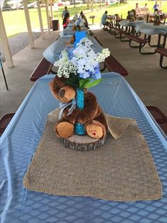 63 Ideas Baby Shower Centerpieces For Boys Woodland Party Ideas For 2019 Teddy Bear Baby Shower, Baby Shower Niño, Baby Shower Cupcakes, Baby Shower Decorations For Boys, Boy Baby Shower Themes, Baby Decor, Birthday Decorations, Teddy Bear Centerpieces, Baby Shower Centerpieces