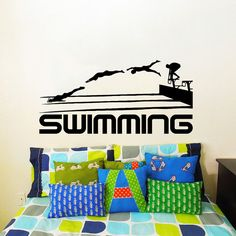 Wall Decal Vinyl Sticker Decals Art Home Decor Design Mural Swimming Sport Logo Emblem Swimmer Gift Office Window Bedroom Dorm Room
