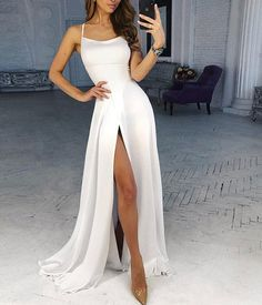 57f60f1e075e Simple white chiffon long prom dress, white evening dress from Dress idea