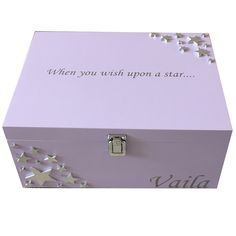 Lavender Keepsake Box with silver stars When you wish upon a star