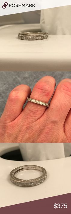 14kt white gold diamond wedding band 14kt white gold diamond wedding band. .16 Ctw diamond vintage style band. Size 6. Jewelry Rings