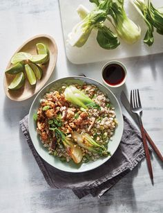 Chicken, Mushroom, and Bok Choy Bowls Recipe Tostadas, Tacos, Healthy Grains, Healthy Eating, Cooking Light Recipes, Grain Bowl, Corn Dogs, Easy Chicken Recipes, Mozzarella