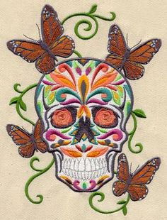 Day of the Dead machine embroidery designs....