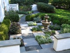Sweet tic-tac-toe design for a side garden. Simply design the grid, then add the plants.       Start with cut-stone pavers, lay out the path, alternate crushed rock for easy drainage. Choose ground covers that can tolerate a little bit of foot traffic. Addition of fountain adds water interest.