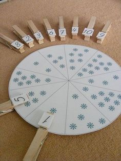 Make these great matching tasks to practice early counting skills.  With some paper plates and clothes pins, you can quickly and cheaply make these tasks for any month of the year.  This blog is not in English, but this picture says it all.  Just use different types of stickers to keep it new and exciting for your early learners.
