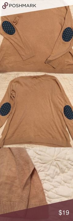 ASOS elbow patch sweater Super comfortable and flattering all cotton sweater. Lightweight. Cute elbow patch detail with blue and backing and white dots. Light beige color. Size 8 which is like a small-medium. Please ask any questions. Offers welcome. ASOS Sweaters Crew & Scoop Necks