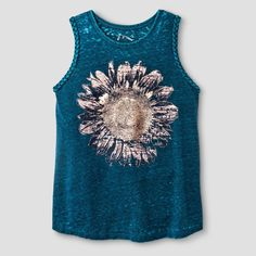 48c11996b13737 Girls  Braided Graphic Sunflower Tank Top - Art Class Navy Aqua XL