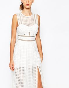 Image 3 of Self Portrait Sheer Check Midi Dress With Pleated Skirt