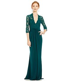 Mac Duggal Deep V-Neck Lace Gown