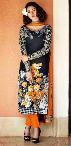 USD 49.00 Aditi Rao Hydari Gray Lawn Cotton Pakistani Suit 44730