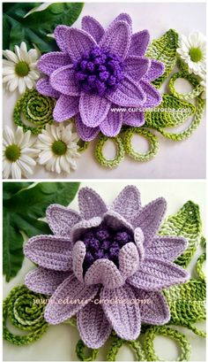 Crochet Lovely FLower.  See +Video at bottom of page for video tutorials