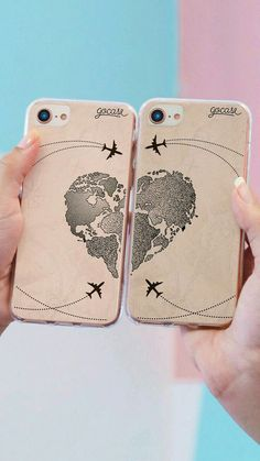 Vintage Weltkarte Herz Telefon Fall - To Do w/ G - Phonecases Bff Iphone Cases, Bff Cases, Couples Phone Cases, Couple Cases, Iphone 3, Diy Phone Case, Cute Phone Cases, Coque Iphone, Unlock Iphone