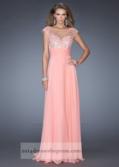 Coral Long Iridescent Stones Cap Sleeves Prom Dresses - Click Image to Close Can I have this one!!!