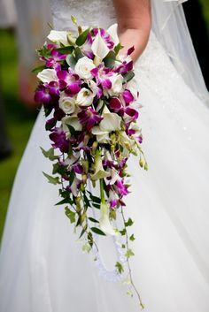 shower bouquet of crystal blush Calla lily, Dendrobium orchids and Akito roses
