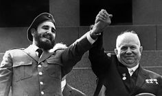 Cuba's Communist leader Fidel Castro with Soviet premier Nikita Khrushchev during a 1963 official visit to Moscow.