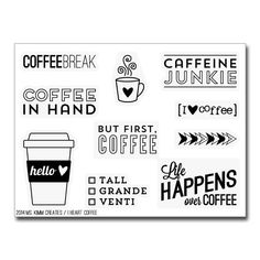Got a thang for coffee? Yeah, I do to. Do you take lots of pics of your beloved beverage? Ive seen them on Instagram. Enhance those photos with this Love for Coffee 3x4 clear stamp set. This set contains 7 coffee sentiments and 3 of my own designed images. My stamps are made of high quality photopolymer and manufactured in the USA.  LIMITED RELEASE! Once sold out, this stamp set will RETIRE.  Perfect for scrapbooking, card making, project life and more.  mskimmcreates.bigcartel.com