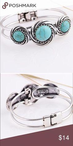 Turquoise & Silver Statement Bangle Bracelet Turquoise & Silver Statement Bangle Bracelet Jewelry Bracelets