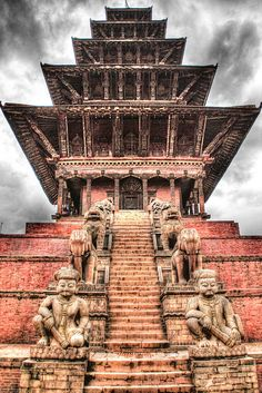 Nyatapola Temple is a 5-story pagoda located in Bhaktapur, Nepal. Built in 1702 A.D. under the rule of King Bhupatindra Malla, this beautifully sculptured building is considered one of the tallest pagodas in the country and is a lovely example of the immense workmanship that went into buildings of this type.