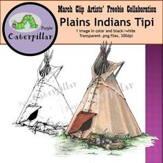TpT clip artists have united to bring you a spring collaborative clip art set!  We have all gone west with this American History / Westward Expansion theme for the month of March.  This image is a buffalo hide tipi (tepee/tee-pee) that was commonly seen in the tribes of Plains Indians.