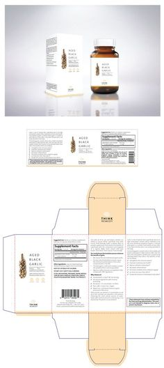 Design #133 by ElitaSue | MINIMAL SUPPLEMENT DESIGN for box and bottle label- Think Remedy: Aged Black Garlic Capsules