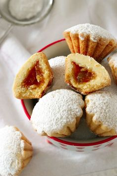 italian cookies Italian Bocconotti Cookies are two bite morsels with a scalloped buttery shell. Theyre filled with fig jam and dusted with powdered sugar. Italian Butter Cookies, Italian Cookie Recipes, Italian Desserts, Just Desserts, Baking Recipes, Dessert Recipes, Gourmet Desserts, Plated Desserts, Jam Cookies