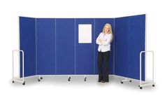 Wall on Wheels Mobile Room Divider. The Insta Wall is a light, yet flexible room dividing system made up of panels which are 600wide x 1800mm high. Panels are hinged with 'piano hinges' making them stable in any configuration from straight to curved. This mobile partition screen is covered both sides with fire retardent felt which can be used with pins and Velcro so can also be used as a display board.When not in use it folds neatly into its own frame.