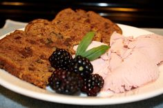 "Organic Chocolate Nut Bread with Blackberries and Blackberry Coconut Ice ""cream"""