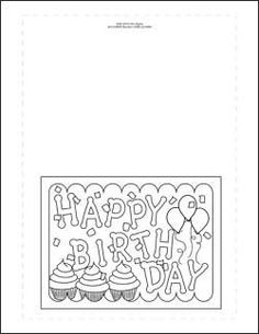 Adult Coloring Page Happy Birthday Paper Art Pinterest Adult Birthday Card Coloring Page