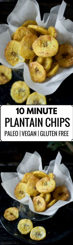 These crispy plantain chips are lightly dazzled with sea salt. Paleo and gluten free, these 10 minute plantain chips are made with only 3 ingredients! Make them sweet or savory. A perfect healthy snack!