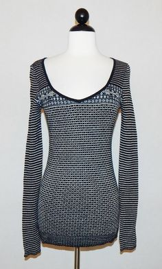 FREE PEOPLE Black Fair Isle Nordic Long Sleeve Fitted Knit Sweater Top Size M #FreePeople #VNeck #Casual