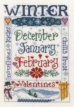 "This cross stitch pattern titled ""Winter"" is one of four seasonal designs from Imaginating and they are all delightful!   Winter features a ..."