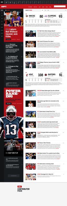 ESPN design breaks down info from sports in easy to understand manner.