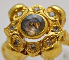19th Century Victorian 18K Gold Diamonds Memento Mori Skull Ring