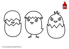 Cartoon Chicken Drawing | Baby Chicken Drawing | Easter Drawing Ideas