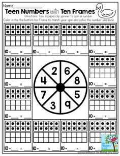 Teen Number with Ten Frames- Playing games makes learning math so much FUN! All you need is a paperclip and pencil.  Who says math worksheets have to be so boring? Check out these interactive ways to help get children motivated to learn!
