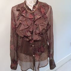 New- Ralph Lauren - Sheer, Blouse, & Cami - SALE 100% Polyester long sleeve with four buttoned cuffs, ruffles, & buttons down front & camisole underneath. Ralph Lauren Tops Blouses
