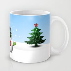 Cool Snowman and Sparkly Christmas Trees Coffee Mug by #PLdesign #snowman #CoolSnowman #WinterGift